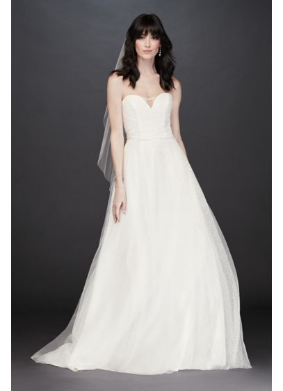 As-Is Gradient Glitter Tulle Wedding Dress - Glitter cascades beneath a layer of tulle on